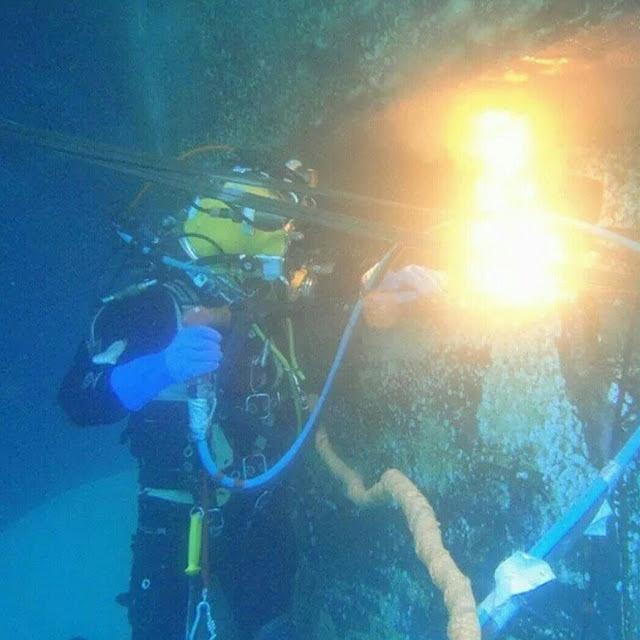 إنجاز أعمال القطع تحت الماء سنة 2017 /2/5 الموقع  الجزيرة الصناعية التابع للمصفاة الرابعة  على عمق 23 متر